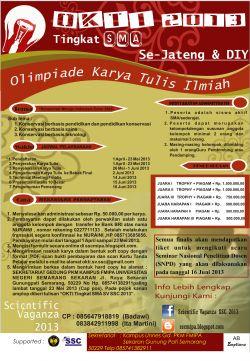 Olimpiade Karya Tulis Ilmiah (OKTI) Tingkat SMA Se-Jateng dan DIY Scientific Vaganza SSC 2013