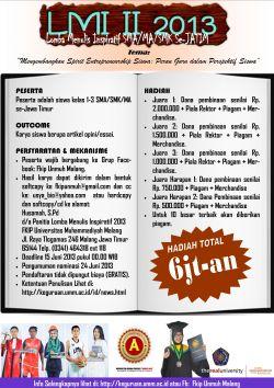 Lomba Menulis Inspiratif Tingkat SMA/Derajat Se-Jawa Timur