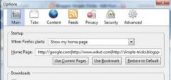 Multiple Home Pages pada Firefox