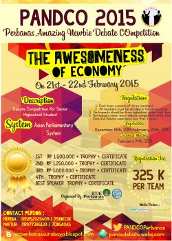 Perbanas Amazing Newbie Debate Competition (Pandco) 2015