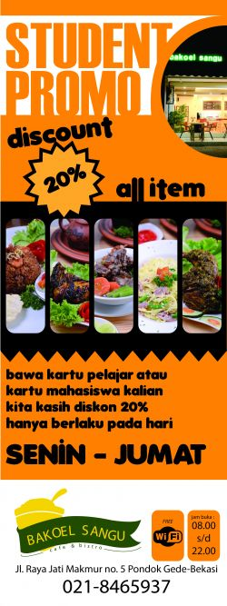 Bring Student Card and Get 20 Percent Discount All Item at Bakoelsangu