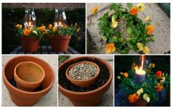 Tempat Lilin dengan Pot Tanaman Hias