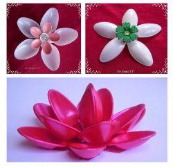 Membuat Bunga dari Sendok Plastik Bekas