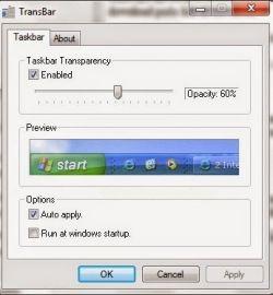 Membuat Taksbar Windows Menjadi Transparant