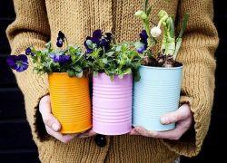 Membuat Pot Bunga dari Kaleng Bekas
