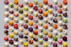 Seniman Ini Buat 98 Makanan Menjadi Potongan Kubus yang Unik
