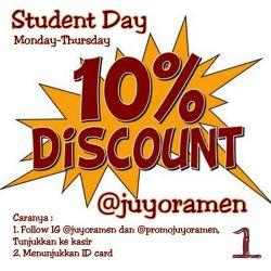 Student Day Promo di Juyo Ramen Express