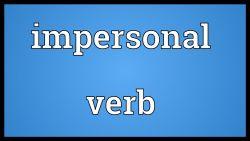 Penggunaan Impersonal Verb