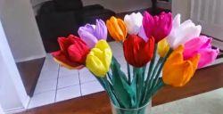Membuat Bunga Tulip yang Cantik dari Sedotan