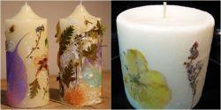 Menghias Lilin dengan Menggunakan Bunga Kering