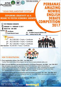 Perbanas Amazing Newbie English Debate Competition 2017